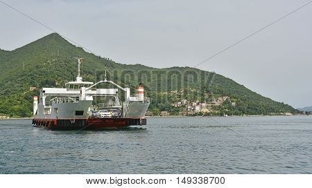 Kamenari Montenegro - June 21st 2016. One of the 6 ferries which transport car the short distance from Lepetane to Kamenari on the Montenegrin coast.