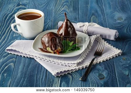 Pears Cooked In Red Wine With Chocolate