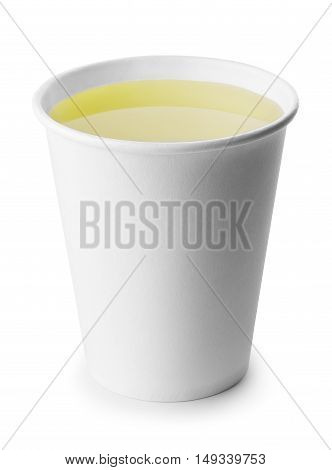 green or herbal tea in takeaway cup isolated on white background with clipping path. Opened take-out paper cup of tea isolated on white. Green or herbal tea