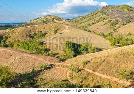 Mountains and sky in drought at Phetchabun Thailand