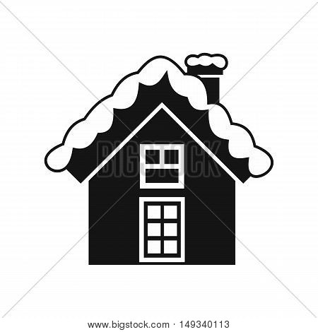 Small snowy cottage icon in simple style on a white background vector illustration