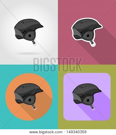 ski helmet flat icons vector illustration isolated on background