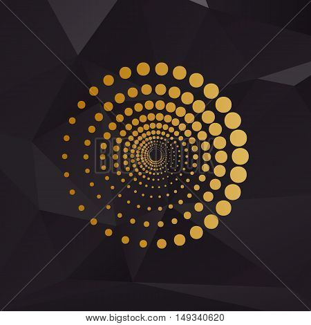 Abstract Technology Circles Sign. Golden Style On Background With Polygons.