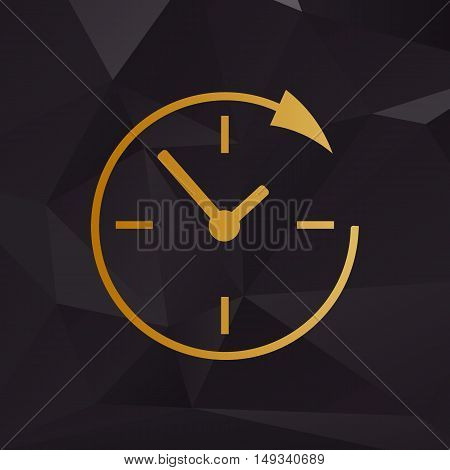 Service And Support For Customers Around The Clock And 24 Hours. Golden Style On Background With Pol