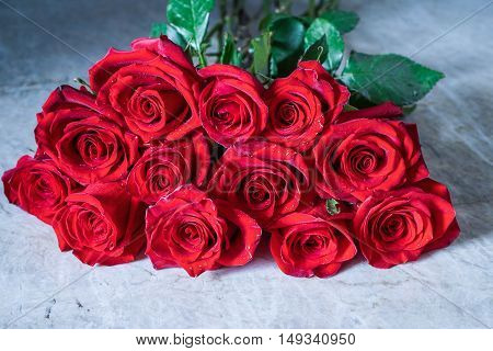 Dozen Red Roses on stone background / Proposal/ Selective focus