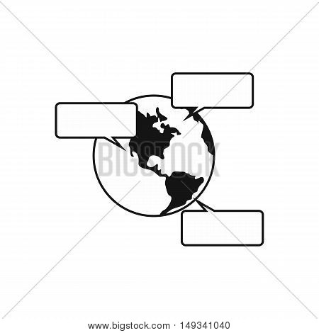 Globe and empty speech bubbles icon in simple style on a white background vector illustration
