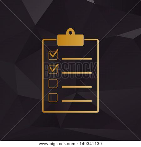 Checklist Sign Illustration. Golden Style On Background With Polygons.