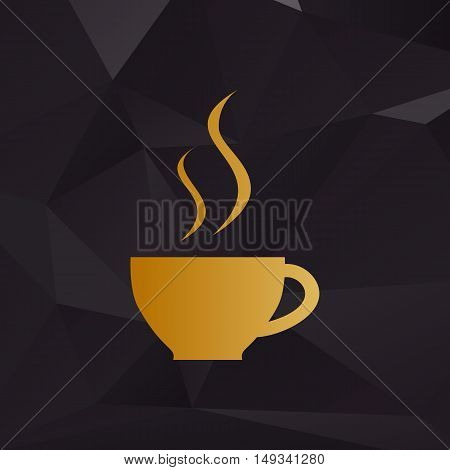 Cup Of Coffee Sign. Golden Style On Background With Polygons.