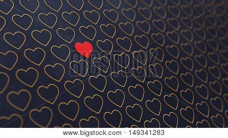 Red and golden hearts on dark background , Valentine's day , 3d illustration