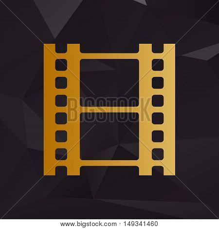 Reel Of Film Sign. Golden Style On Background With Polygons.