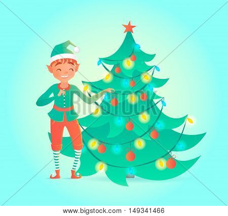 Elf decorates Christmas tree. Cute character. Vector illustration