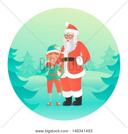 Santa Claus hugging elf. Cute characters. Vector illustration