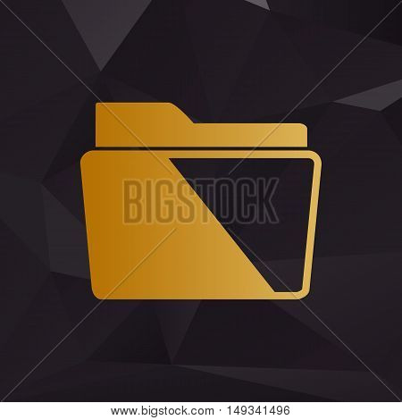 Folder Sign Illustration. Golden Style On Background With Polygons.