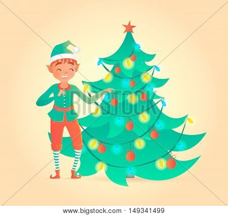 Elf decorates Christmas tree. Vector illustration. New Year