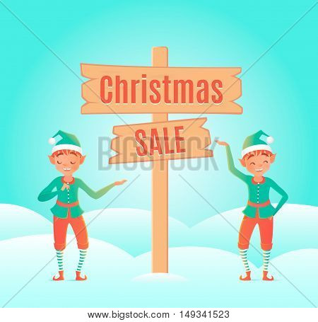 Two elves. Cute character. Vector illustration. Design template.