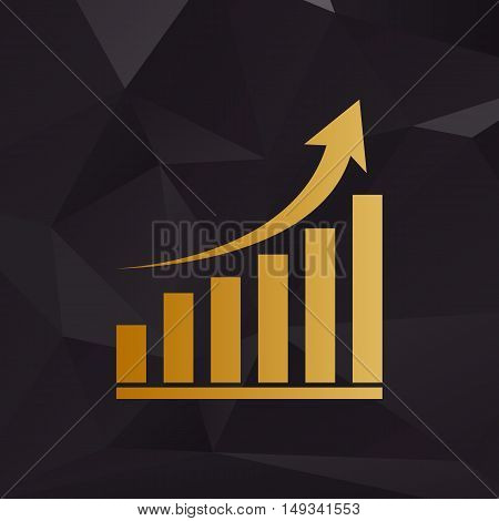 Growing Graph Sign. Golden Style On Background With Polygons.