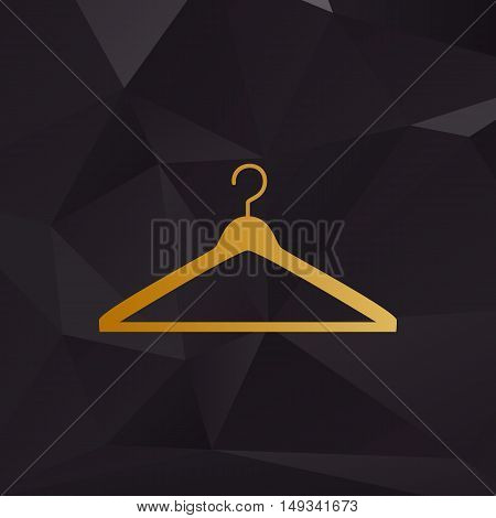 Hanger Sign Illustration. Golden Style On Background With Polygons.