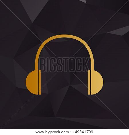 Headphones Sign Illustration. Golden Style On Background With Polygons.