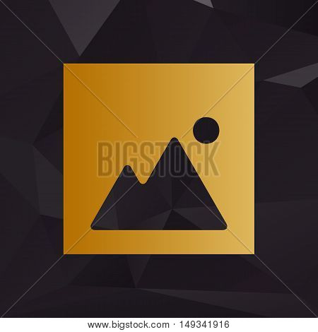 Image Sign Illustration. Golden Style On Background With Polygons.