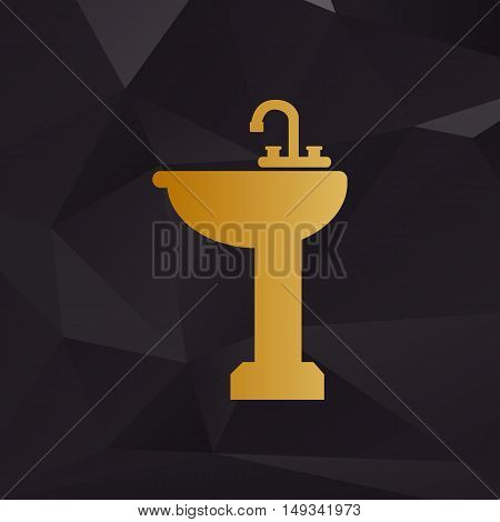 Bathroom Sink Sign. Golden Style On Background With Polygons.