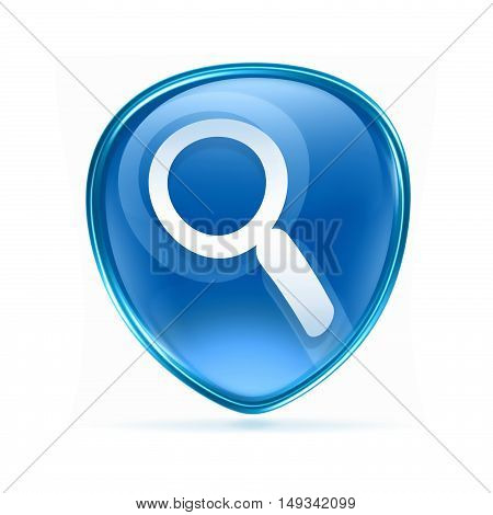 Search And Magnifier Icon Blue, Isolated On White Background.
