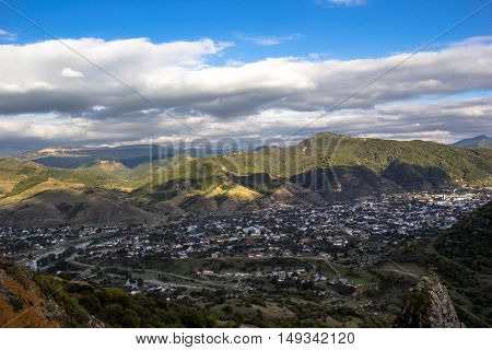 the village in mountains, hills, the nature, a landscape, clouds