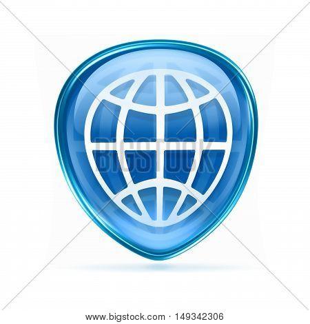 World Icon Blue, Isolated On White Background.