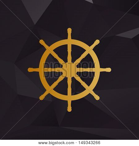Ship Wheel Sign. Golden Style On Background With Polygons.