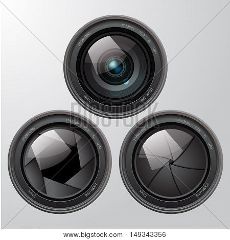 Three different kinds of lens, front view. Vector illustration
