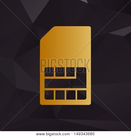 Sim Card Sign. Golden Style On Background With Polygons.