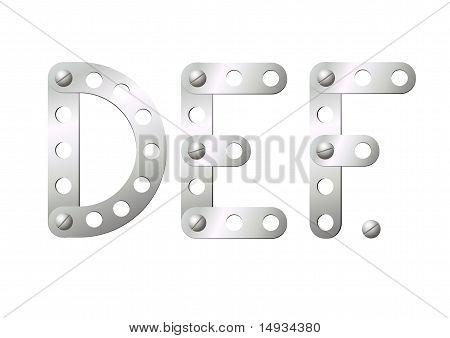 Metal Letters D, E, F