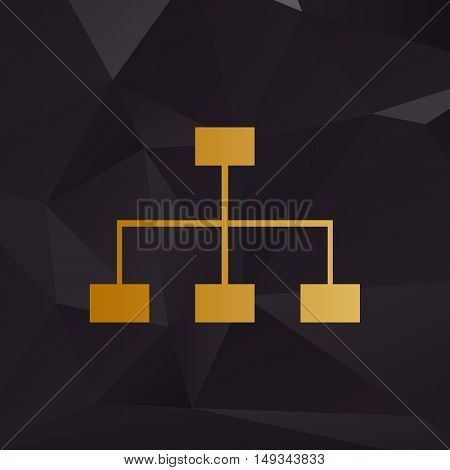 Site Map Sign. Golden Style On Background With Polygons.