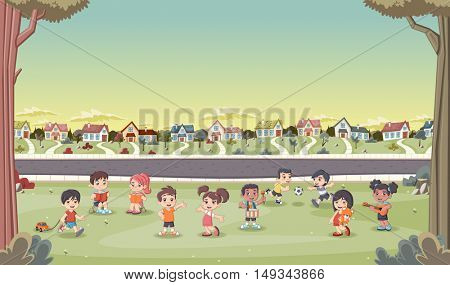 Colorful houses in suburb neighborhood with cute cartoon kids playing. Sports and recreation.
