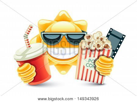 Sun with popcorn and soft drink on white background