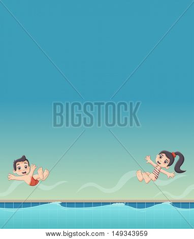 Cute happy cartoon children jumping into a swimming pool.