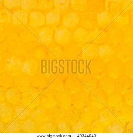 Honeycomb Cells Under Yellow Honey