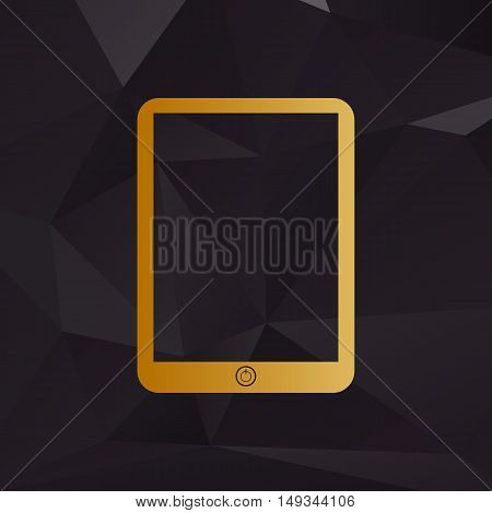 Computer Tablet Sign. Golden Style On Background With Polygons.