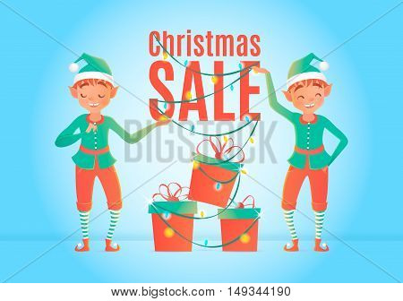 Christmas sale design template. Christmas elves and gift boxes