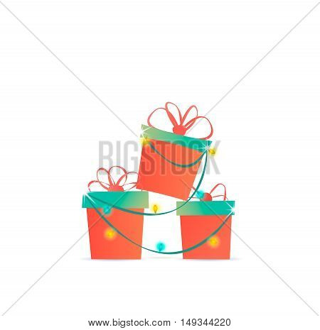 Cute Stylized Gifts In Boxes With Bows