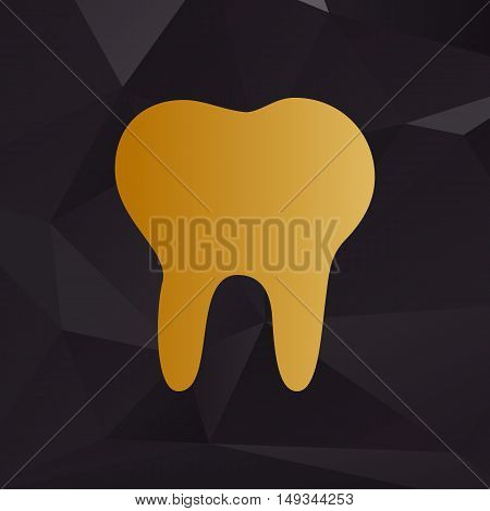 Tooth Sign Illustration. Golden Style On Background With Polygons.