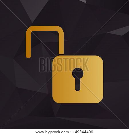 Unlock Sign Illustration. Golden Style On Background With Polygons.