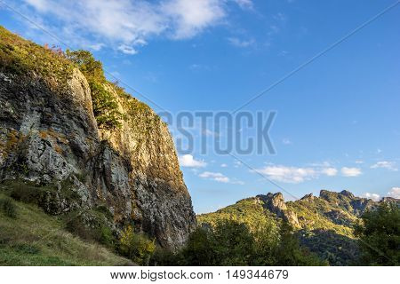 mountain landscape, wild nature, rocks, canyon, blue sky