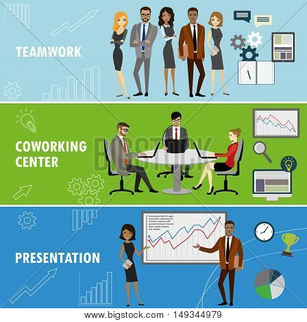 Set business banner. Teamwork, coworking and presentation. Business people in different situations.Vector illustration