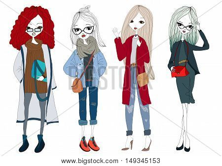 Fashion Girl Collection with Four Beautiful Stylish Girls Wearing Trendy Clothes. Isolated Fashion Model Set Illustration for Book, Magazine and Blog Illustrations