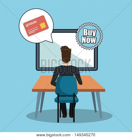 avatar man working on desk with credit card and buy now stamp. colorful design. vector illustration