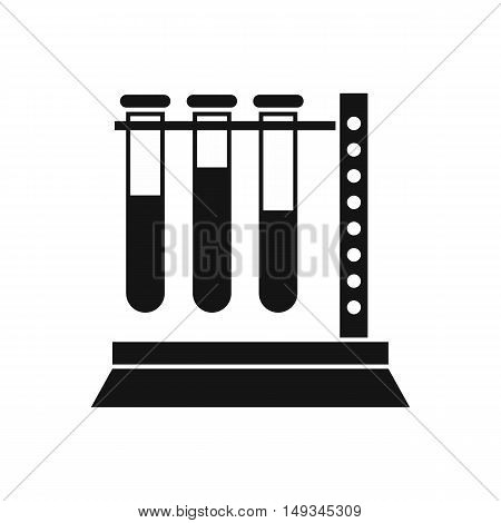 Medical test tubes in holder icon in simple style on a white background vector illustration