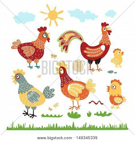 Set Hen Rooster Chicken For Children. The Character Of Happy, Bright Birds. Illustrations For The Po