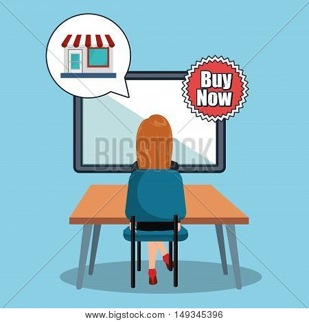 avatar woman working on desk with shopping store and buy now stamp. colorful design. vector illustration