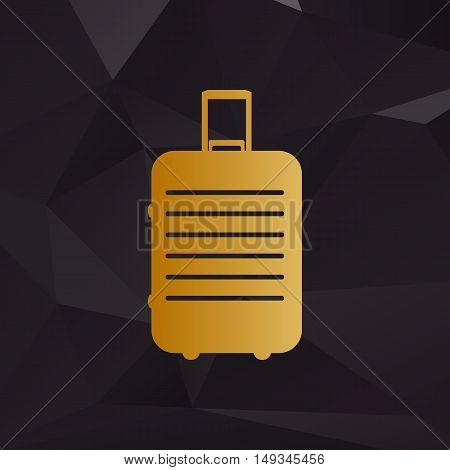 Baggage Sign Illustration. Golden Style On Background With Polygons.