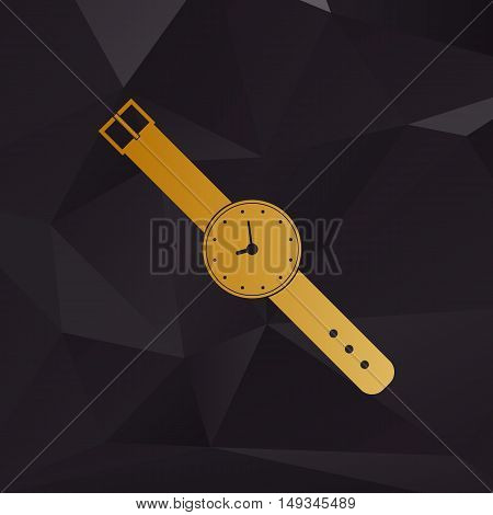 Watch Sign Illustration. Golden Style On Background With Polygons.